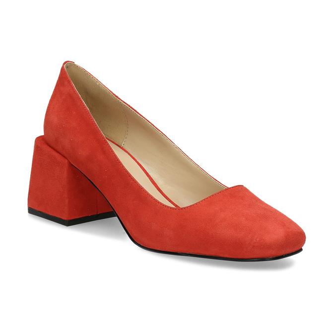 Červené dámské lodičky z broušené kůže bata, červená, 623-5647 - 13