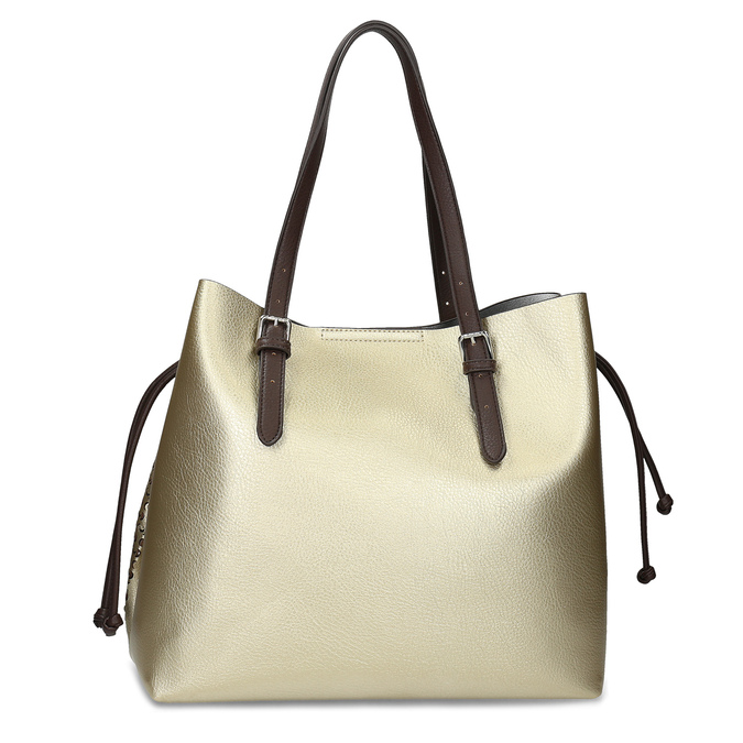 Zlatá dámská kabelka s perforací bata, zlatá, 961-8866 - 16