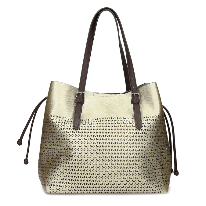 Zlatá dámská kabelka s perforací bata, zlatá, 961-8866 - 26