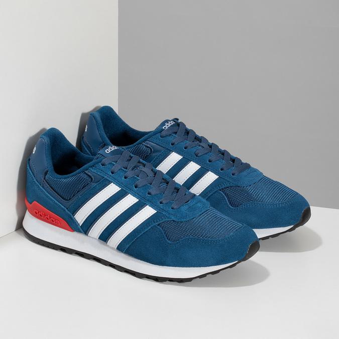 Kožené modré tenisky s červeným detailem adidas, modrá, 803-9302 - 26