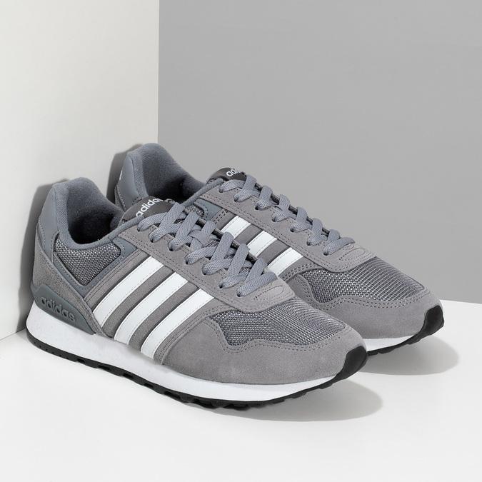 Pánské šedé tenisky kožené adidas, šedá, 803-2102 - 26