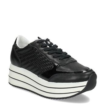 Černé dámské tenisky na pruhované flatformě bata-light, černá, 621-6656 - 13