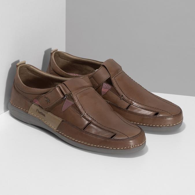 Kožené sandály hnědé fluchos, hnědá, 856-3621 - 26