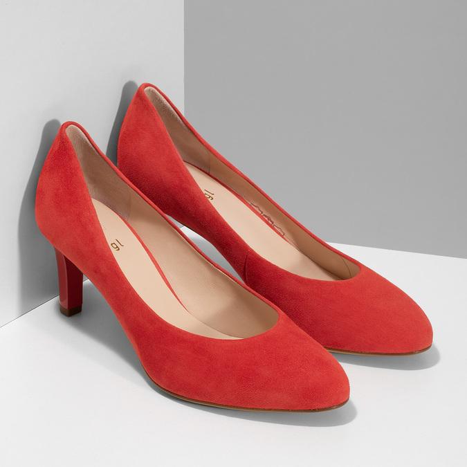 Červené lodičky z broušené kůže hogl, červená, 623-5007 - 26