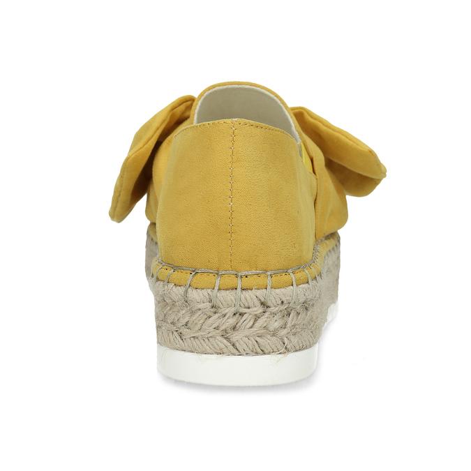 Žluté dámské espadrilky s mašlí bata, žlutá, 559-8607 - 15