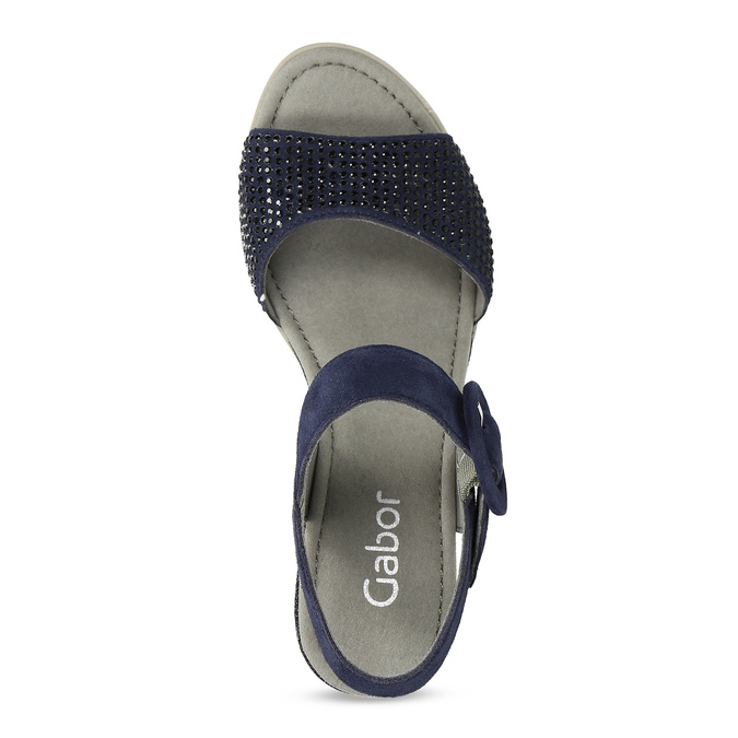 Modré dámské kožené sandály na platformě gabor, modrá, 663-9606 - 17