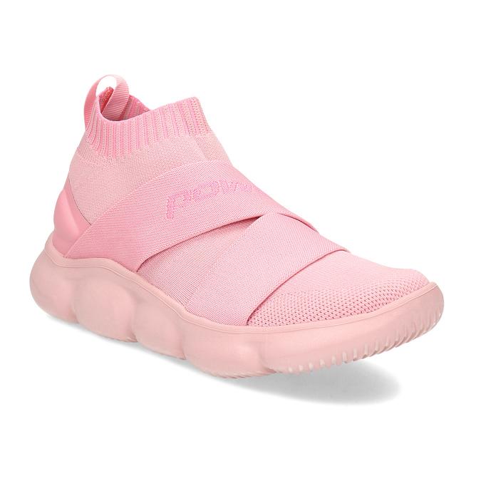 Kotníčkové růžové dámské tenisky z úpletu power, růžová, 509-5237 - 13