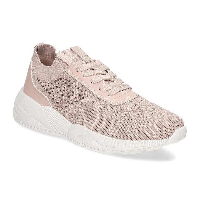 Dámské tenisky růžové s kamínky bata-light, růžová, 549-5615 - 13