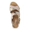 Zlaté kožené sandály na vzorované platformě gabor, zlatá, 765-8600 - 17
