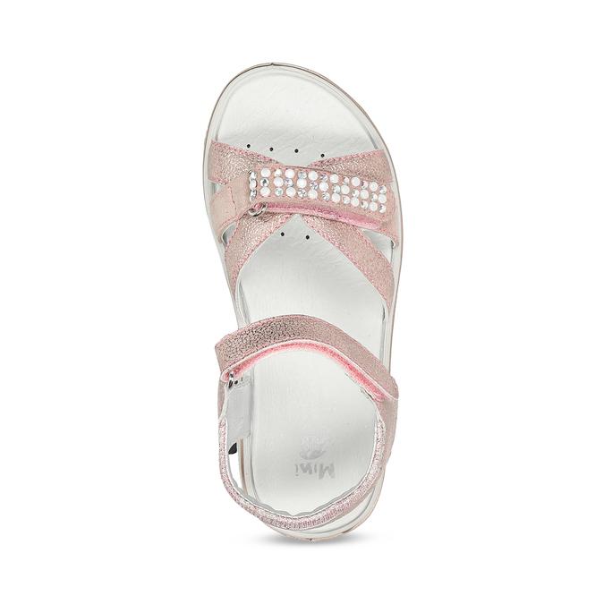 Růžové dětské sandály s kamínky mini-b, růžová, 461-5642 - 17