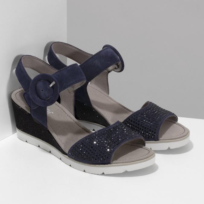 Modré dámské kožené sandály na platformě gabor, modrá, 663-9606 - 26