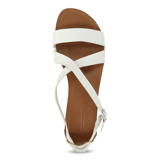 Bílé dámské kožené sandály vagabond, bílá, 564-1028 - 17