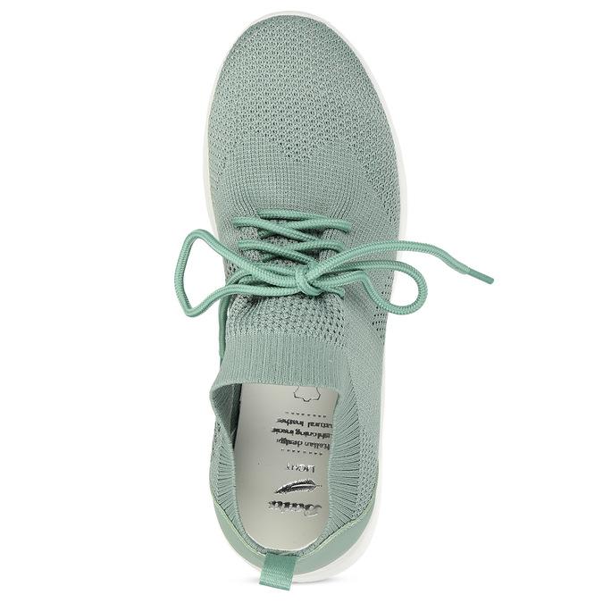 Zelené dámské tenisky z úpletu bata-light, zelená, 549-7606 - 17