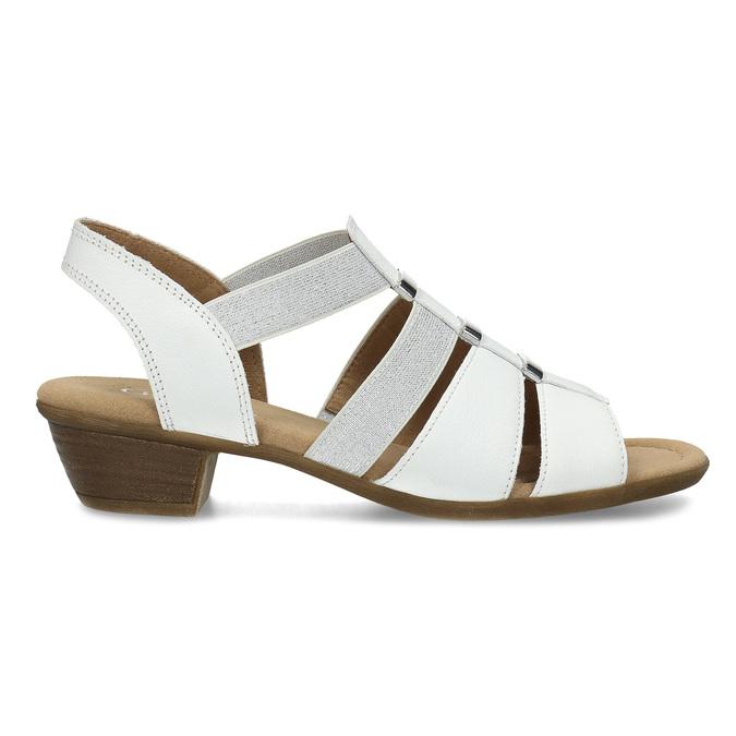 Bílé kožené sandály se stříbrnými detaily gabor, bílá, 664-1605 - 19