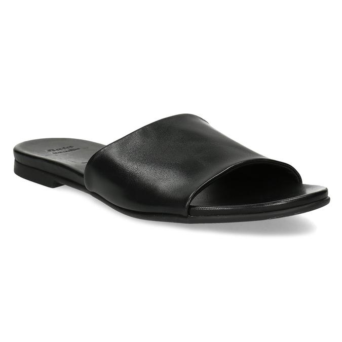 Černé kožené nazouváky dámské bata, černá, 564-6602 - 13