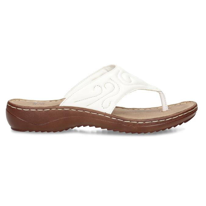 Dámské kožené žabky bílé bata, bílá, 566-1600 - 19