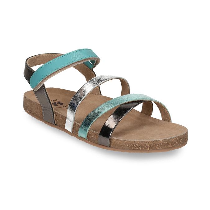 Páskové dívčí sandály kožené mini-b, tyrkysová, 466-7611 - 13
