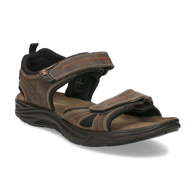 Hnědé pánské sandály z broušené kůže weinbrenner, hnědá, 866-4679 - 13