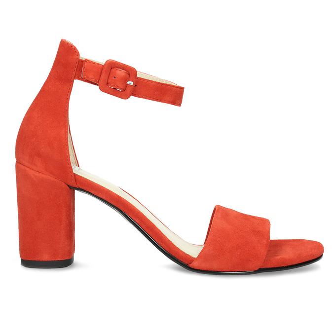 Červené kožené sandály na stabilním podpatku vagabond, červená, 623-5023 - 19