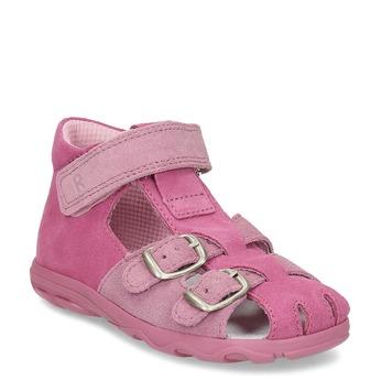 Dětské růžové sandály z broušené kůže richter, růžová, 163-5103 - 13