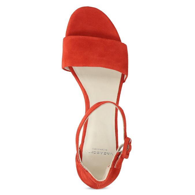 Červené kožené sandály na stabilním podpatku vagabond, červená, 623-5023 - 17