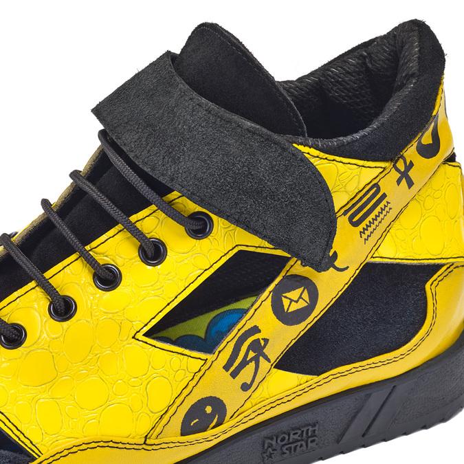 Žluté tenisky s černými detaily a průstřihy bata, žlutá, 544-8114 - 16