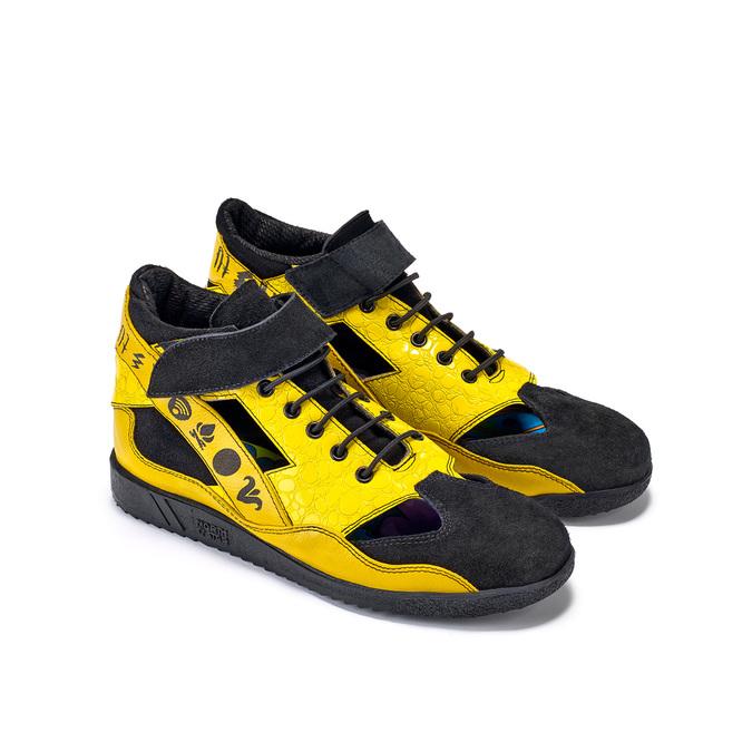 Žluté tenisky s černými detaily a průstřihy bata, žlutá, 544-8114 - 26