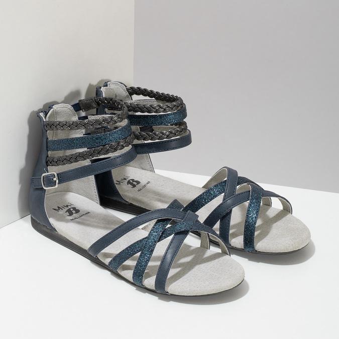 Dívčí sandály z kůže mini-b, modrá, 461-9620 - 26