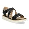 Černé dámské kožené sandály na světlé podešvi flexible, černá, 563-6601 - 13