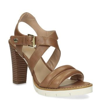 Hnědé kožené sandály na přírodním podpatku flexible, hnědá, 763-3631 - 13