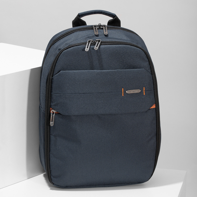 Modrý cestovní batoh s oranžovými detaily samsonite, modrá, 960-9056 - 17