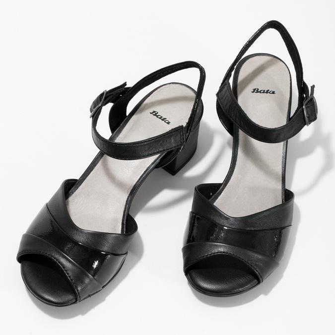 Dámské nazouváky na podpatku bata, černá, 664-6602 - 16