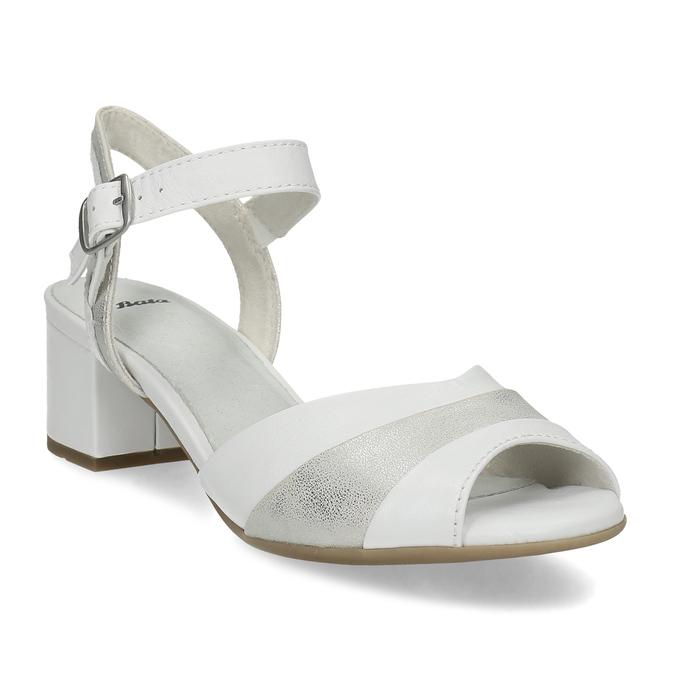 Bílé kožené sandály se stříbrnými detaily bata, bílá, 664-1602 - 13