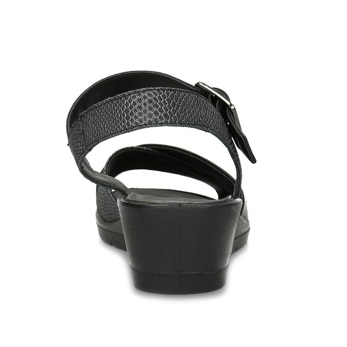 Černé kožené sandály bata, černá, 666-6602 - 15