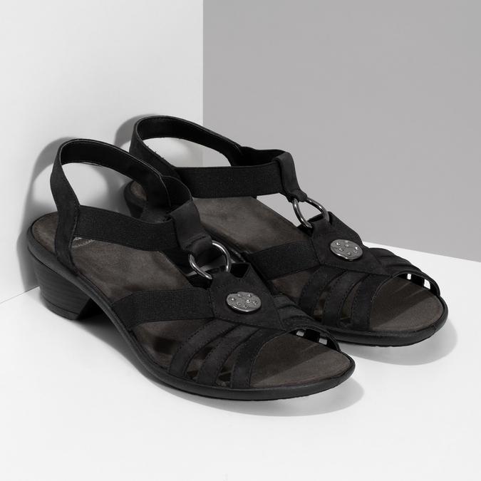 Černé kožené sandály bata, černá, 666-6602 - 26