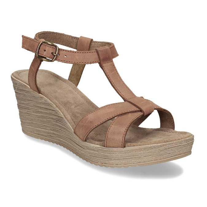 Hnědé kožené sandály na přírodní platformě bata, hnědá, 764-4603 - 13