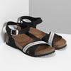Černé kožené sandály s perličkami bata, černá, 666-6603 - 26