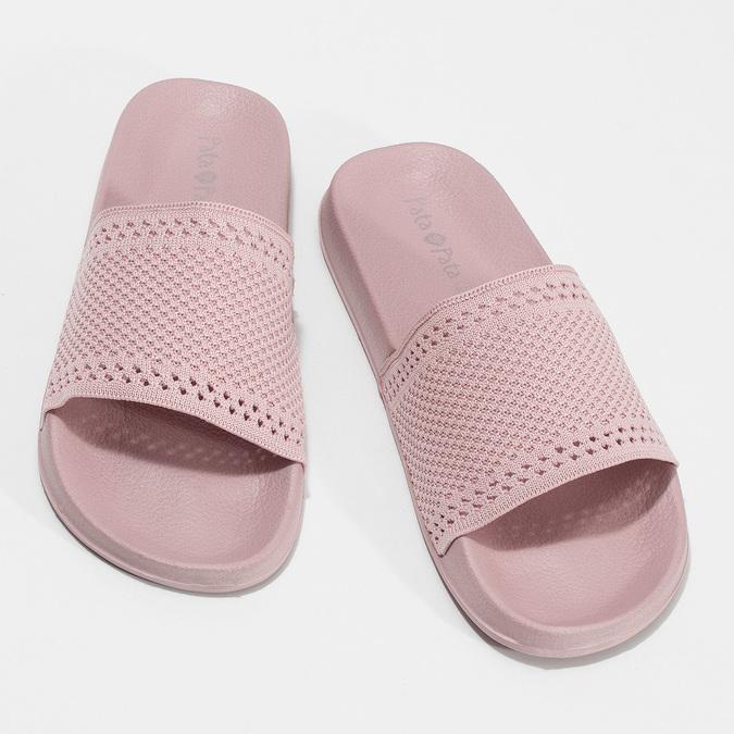 Růžové dámské nazouváky s perforací pata-pata, růžová, 579-5689 - 16