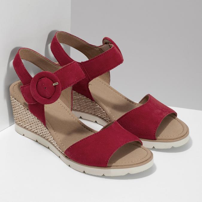 Kožené červené sandály na přírodní platformě gabor, červená, 663-5606 - 26