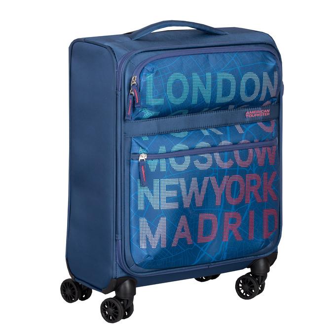 Modrý kufr na kolečkách s nápisy american-tourister, modrá, 969-9740 - 13