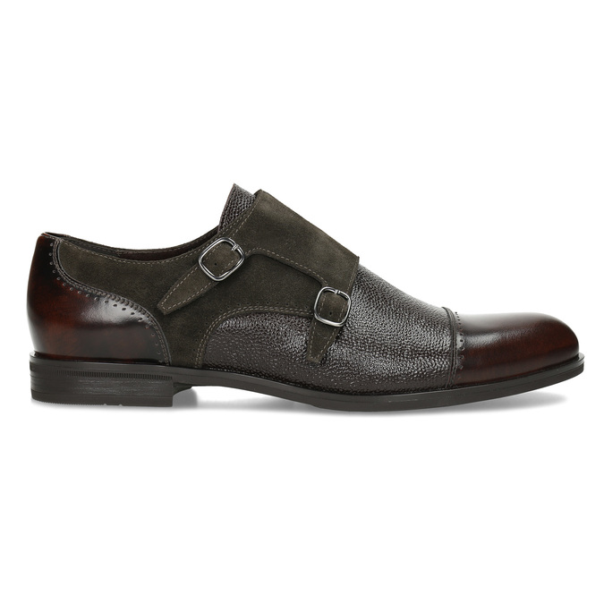 Pánské kožené Monk Shoes polobotky conhpol, hnědá, 826-4626 - 19