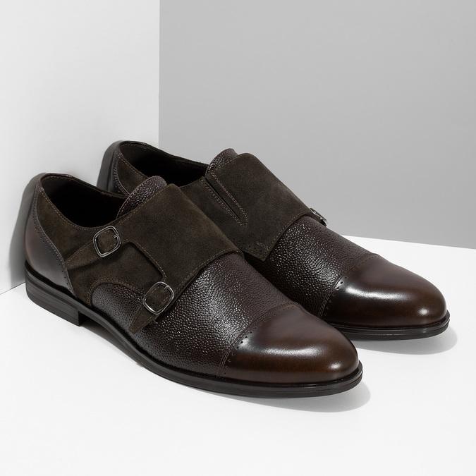 Pánské kožené Monk Shoes polobotky conhpol, hnědá, 826-4626 - 26
