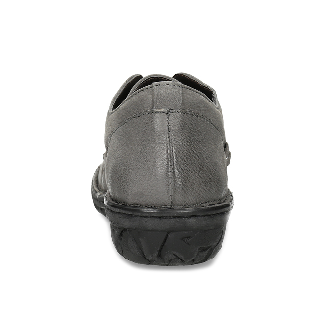 Šedé dámské kožené ležérní polobotky bata, šedá, 594-2601 - 15