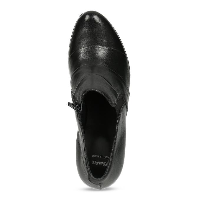 Kotníčková kožená obuv s prošitím bata, černá, 694-6609 - 17