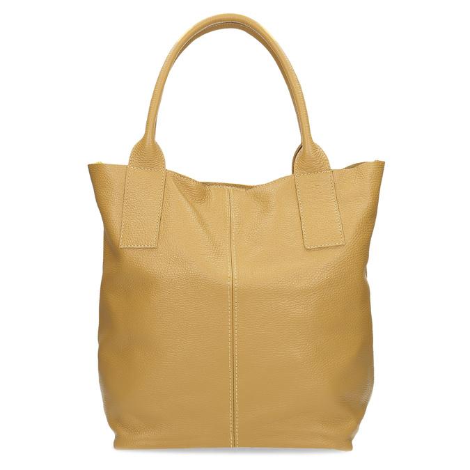 Žlutá kožená kabelka s prošitím bata, žlutá, 964-8221 - 16