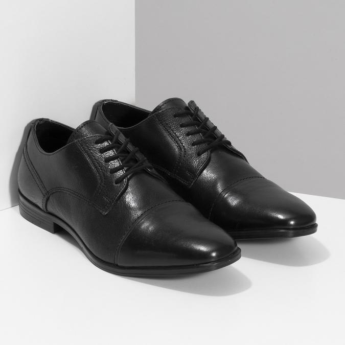Černé pánské kožené Derby polobotky bata, černá, 824-6601 - 26