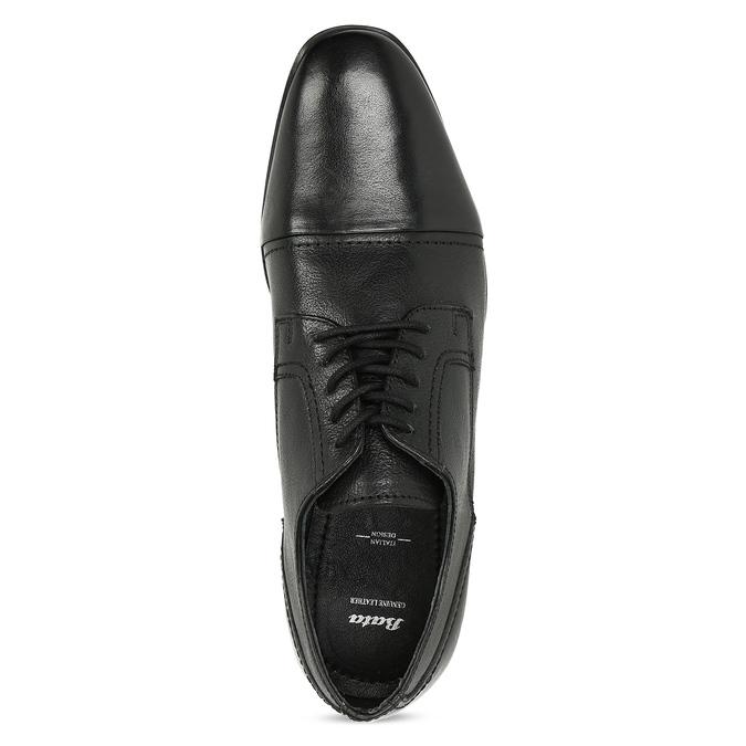 Černé pánské kožené Derby polobotky bata, černá, 824-6601 - 17