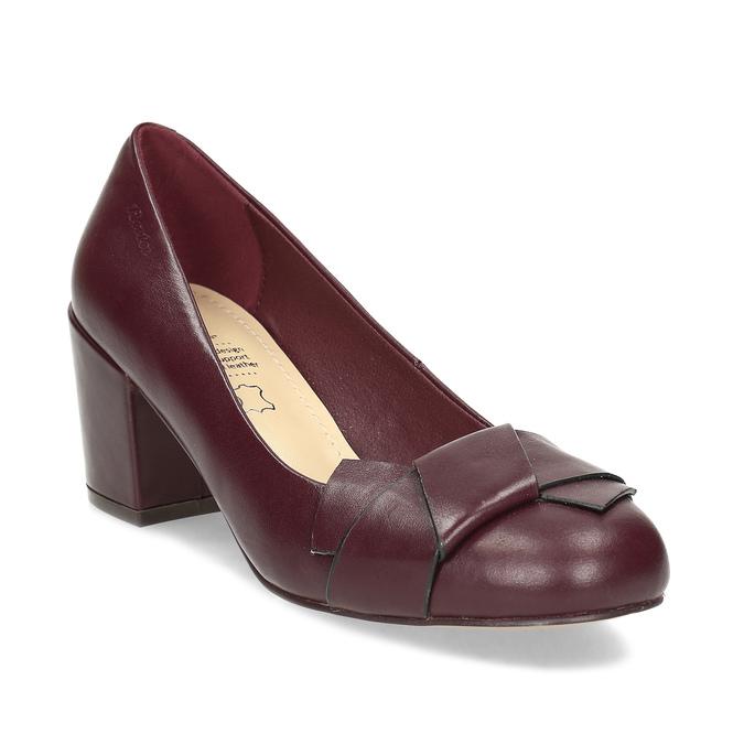 Vínové dámské kožené lodičky s mašlí insolia, červená, 624-5606 - 13