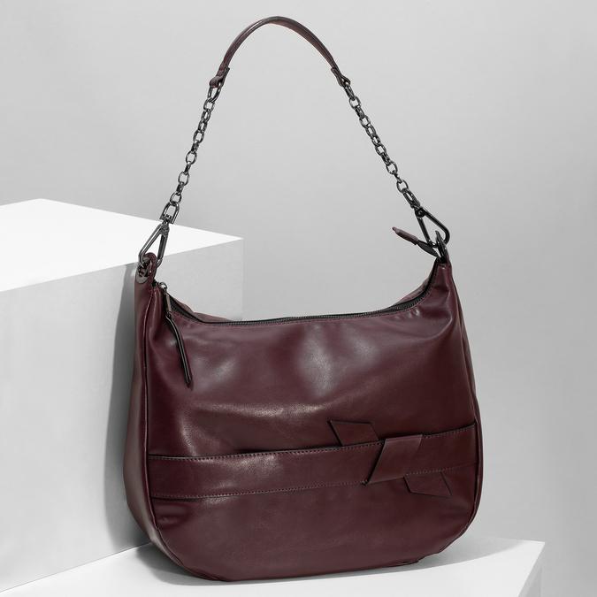Kaštanově hnědá dámská kabelka bata, červená, 961-5987 - 17