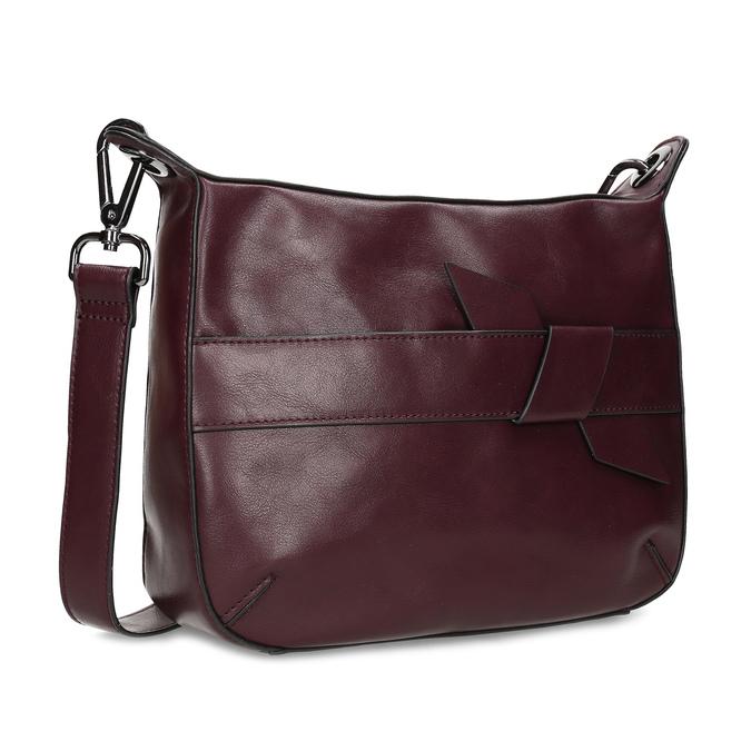 Vínová Crossbody kabelka s prošitím bata, červená, 961-5992 - 13